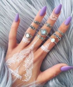 Amazing long matte purple nails - LadyStyle