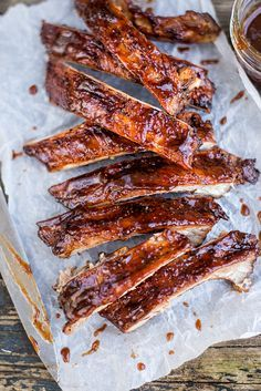 Dry-rubbed ribs with bourbon-spiked BBQ sauce - all the yums!