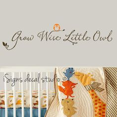 Grow Wise Little Owl Comes with 1 owl (separate so you can place as you wish) * See second image for a close up of the font style. { SIZE } Quote is 6.5 high x 34 wide Owl is 2 high  If you need a different size, please message us before ordering.  { COLORS } Choose from drop down menu        * Images displayed are for reference only and may not reflect the actual size and color of the decal listed * Decals need a flat / smooth surface to adhere to. They are not meant for brick, stucco, ...