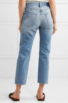 FRAME - Rigid Re-release Le Original Distressed High-rise Straight-leg Jeans - Blue - 28