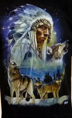 Native with wolves