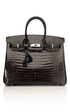 35cm Horseshoe Custom Order Shiny Two-Tone Black & Graphite Porosus Crocodile Birkin ...Only Ninety Eight Thousand Dollars <3