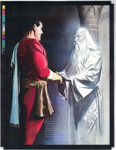 From Shazam!: The Power of Hope, by Alex Ross, a great moment between Shazam and the Captain. Original Captain Marvel, Captain Marvel Shazam, Marvel Dc, Marvel Comics, Comic Book Artists, Comic Artist, Comic Books Art, Superhero Characters, Dc Comics Characters