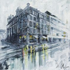 "Glasgow 40"" x 40"" Oil on Canvas  Streetscape of Glassford and Wilson Street in Glasgow, Scotland"