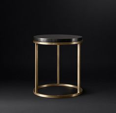 Nicholas Marble Round Occasional - Black | RH Modern