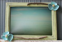 Coastal Chic Distressed Sea Green Picture Frame 5 X 7 With Original Photography Sea Shells, Driftwood and Sea Glass