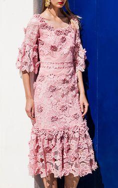 Ruffled Blossom Lace Midi Dress by Costarellos | Moda Operandi