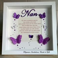'Nan' 3D butterfly frame with poem. All hand drawn and hand cut. www.facebook.com/eleganceinvitationscards