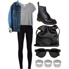 dr martens + black leggings + sunglasses + 3 silver rings + grey crop top + denim jacket + black backpack