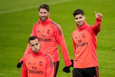 Lucas Vazquez of Real Madrid, Sergio Ramos of Real Madrid, Marco Asensio of Real Madrid during the Training Real Madrid at the Johan Cruijff Arena on February 2019 in Amsterdam Netherlands Get premium, high resolution news photos at Getty Images Ramos Haircut, Lucas Vazquez, Real Madrid Training, Real Madrid Players, Amsterdam Netherlands, Football Players, Graphic Sweatshirt, Sweatshirts, February 12