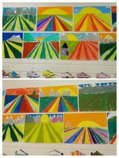Syksyinen pelto. Pakopiste, perspektiivi-harjoitus. Pölypastellivärit. Kuvis syksy AHP Perspective Art, Art For Kids, Beach Mat, Outdoor Blanket, Kids Rugs, Teaching, Joki, Painting, Decor