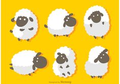 Funny Sheep Vector Crafts With Pictures, Fabric Pictures, Sheep Logo, Sheep Illustration, Sheep Cartoon, Sheep Vector, Funny Sheep, Crochet Sheep, Sheep Art