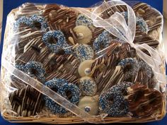 Chocolate-covered pretzels for Hanukkah .