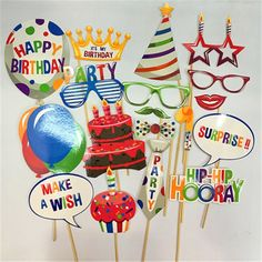 Set of Photo Booth Props Kids Happy Birthday Party Decorations Supplies Baby Boy Girl Adult Photobooth Happy Birthday Parties, Diy Birthday, Adult Party Decorations, Wedding Decorations, Decoration Party, Paper Decorations, Birthday Decorations, Wedding Photo Booth Props, Photo Props