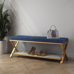 Blue Tufted Entryway Bench Upholstered Velvet Modern Bench with Shelf in Gold Ottoman Furniture, Upholstered Ottoman, Ottoman Bed, Entryway Decor, Entryway Bench, Foyer Storage, Gold Bench, Living Room Bench, Modern Home Furniture