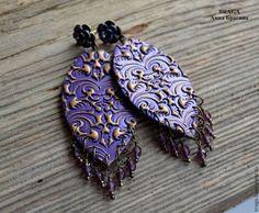 Серьги ручной работы. Ярмарка Мастеров - ручная работа Серьги Бохо фиолетово -золотистые с бусинами-подвесками. Handmade.