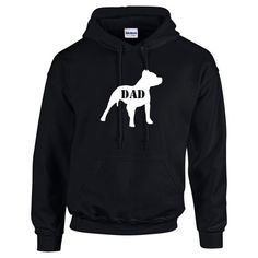 Pitbull Dad Mens Hoodie Long Sleeve T Shirt Tee by Whynotstopnshop
