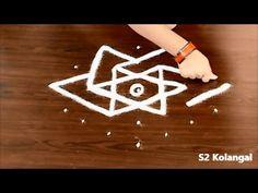 easy rangoli designs with 7 to 4 Interlaced dots - easy kolam designs - star rangoli - YouTube