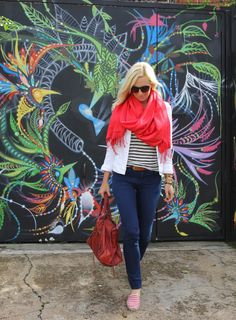 another outfit to recreate: jeans+striped T+white blazer+scarf+striped espadrilles