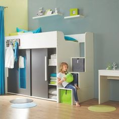 Loft bed in white and anthracite - an eye-catcher for the nursery Teen Bedroom Designs, Room Design Bedroom, Kids Room Design, Small Room Bedroom, Kids Bedroom, Bedroom Decor, Raised Beds Bedroom, Bunk Bed With Desk, Cool Rooms