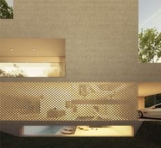 Hofman Dujardin Architects Unusual use of semi transparent exterior wall to create a sheer effect... very smart