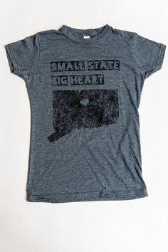 Connecticut TShirt Small State Big Heart by hartfordprints