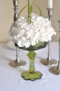 Elegant drop in centerpiece, wedding table center of white paper flowers, Vessel not included. $29.00, via Etsy.