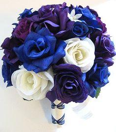 17-piece-Wedding-Bouquet-Silk-Flower-Bridal-ROYAL-Blue-PURPLE-PLUM-CREAM-Package