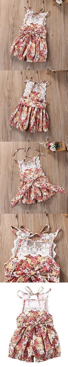 8e4991ae2cd Baby Girls Lace Cotton Floral Rompers Toddler Sleeveless Jumpsuit Sunsuit  Outfits(6-12M