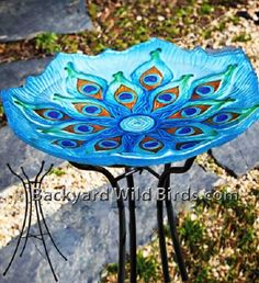 Beautiful! - Stained Glass Peacock Bird Bath. This would also be a pretty mosaic.