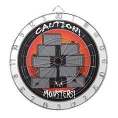 Caution Monster! Dartboards.  look for more items with this design.  Designs by DonnaSiggy. All graphic designs are copyrighted on my products. #Halloween #Dartboard #monster  #pinoftheday #zazzle #gifts #trendy www.zazzle.com/designsbydonnasiggy?rf=238713599140281212