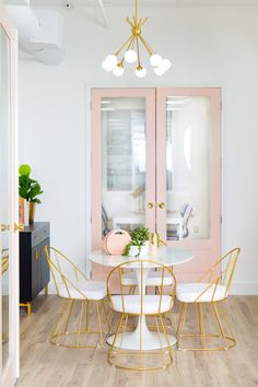 Pink painted french doors.