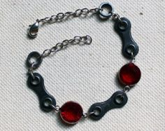 Upcycled Bicycle Chain Bracelet with Vintage Swarovski Crystals