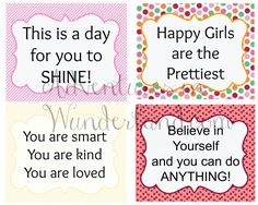 Girls Affirmations Lunch Box Notes {FREE Prinable} #backtoschool #lunchbox