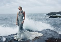 """Screen Siren """"It's been nice to rediscover myself,"""" says Theron. Alexander McQueen silver glass-and-metal beaded dress. Fashion Editor: Camilla Nickerson - Photographed by Annie Leibovitz"""