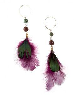 Boucles d oreilles plumes Stacey Pink Mascara