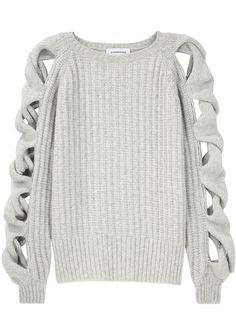 Contemporary Knitwear - grey sweater with open cable sleeve detail // Julien Macdonald