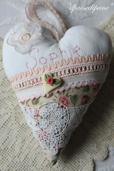 Beautiful Valentine Pillow!!! Bebe'!!! Decorated with embroidery, Lace and Rick Rack!!!.