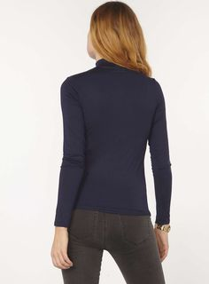 Womens Navy Turtle Neck Top- Blue