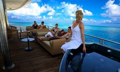 Relaxing with friends on the yacht cruising the Maldives. http://travelholidayclub.com