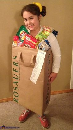 Bag of Groceries Recycle a paper bag and some of your kid's favorite food packages for an equally adorable and eco-friendly costume idea.