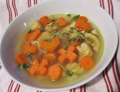 Homemade Chicken Rice Soup with Heart Shaped Carrots