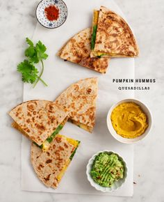 pumpkin hummus quesadillas
