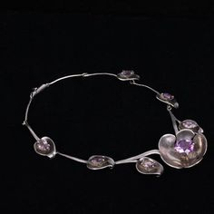 "<b>Los Castillo Taxco Mexico Modernist Sterling Silver Amethyst Multi Flower Necklace.</b> 17"""
