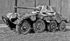 """SdKfz 234/2 schwerer Panzerspähwagen """"Puma"""" Numbered 432. Note turret is pointing backwards."""