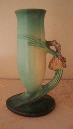 Roseville Pottery Pine Cone Bud Vase 1931 by vintagesouthwest, $255.00