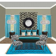 Turquoise and Zebra Bedroom, created by sugardesigner on Polyvore