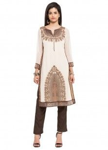 Ideal Beige Georgette Party Wear Kurti