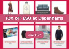 Shop now at Debenhams and save 10% using this code.