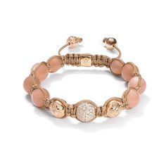 Shamballa Bracelet diamonds, 18k rose gold, peach moonstones